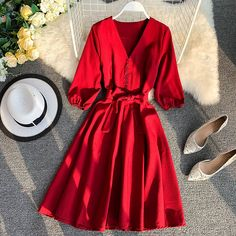 New Women's Fashionable V Collar Half Sleeve Single Breasted High Waist Casual Dress Elegant Dresses, Pretty Dresses, Sexy Dresses, Beautiful Dresses, Dress Outfits, Casual Dresses, Dresses For Work, Formal Dresses, Wedding Dresses