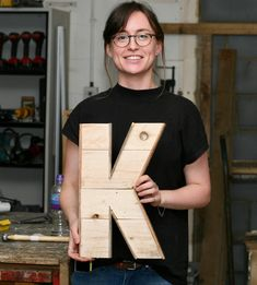Learn how to make your own wooden marquee letter from pallets and reclaimed with various powertools. You will gain confidence & skills in this creative. Typography Letters, Lettering, 3d Interior Design, Homemade Christmas Gifts, Wooden Letters, My Room, Crates, Create Your Own, Workshop