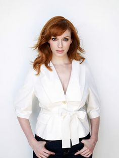"""Christina Hendricks  """"I use SPF 25 or 30 sunblock every morning. For years I was bad about it until I realized you can get sun damage at any given time."""" Jacket, $625, Ports 1961; (866) 433-PORTS."""