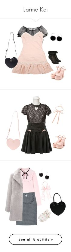 """Larme Kei"" by thepetitereverie ❤ liked on Polyvore featuring Manoush, Forever 21, girly, kawaii, harajuku, jfashion, larmekei, Larme, Topshop and Whistles"