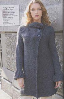 Мир хобби: Синие пальто с крупными пуговицами ( вязание спицами)