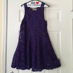 Free People Miles of Lace Dress Purple Size Large GORGEOUS, Lacey and feminine  Free People Miles of Lace Dress Size Large as seen on actress Anna Paquin from the X-Men Flawless condition perfect skater dress! Slip not included. Reasonable offers considered Free People Dresses Midi