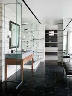 Modern Marble Bathroom.  Dream bathroom!  Clean, Sleek and Minimal.  Awesome!