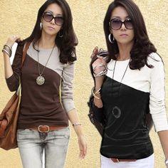 Free Shipping Hot Selling Autumn Patchwork Long-sleeve T-shirt Basic Shirt Slim Round Neck T-shirt- http://tinyurl.com/ngzy4ue #womenfashion #top #tshirt #fashiontshirt