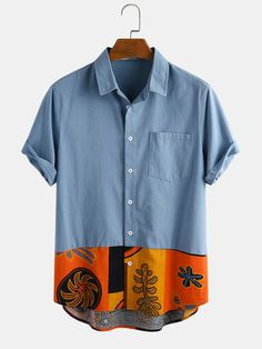 Loose Shirts, Jean Shirts, Printed Shirts, Casual Shirts, Casual Outfits, Camisa Floral, African Clothing For Men, Ethnic Print, Mode Streetwear