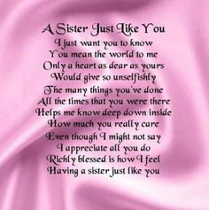 New bday message for sister Graphics, idea bday message for sister for heart touching birthday wishes for sister sister quotes birthday wishes for sister sister poems 22 birthday greetings for sister in heaven Brother Poems From Sister, Message For Sister, Sister Day, Love My Sister, Sister Friends, Sister Sayings, Sister Cards, Brother To Sister Quotes, Sayings About Sisters
