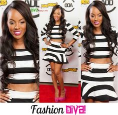 FASHION WEEKEND DIVA: GET THE LOOK...BBWLA STAR MALAYSIA PARGO STRIPPED BLACK & WHITE HAILEY SET.  See more at Divasnap.com
