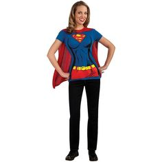 DC Comics Supergirl T-Shirt Costume Kit - Adult, Size: Medium, Multicolor