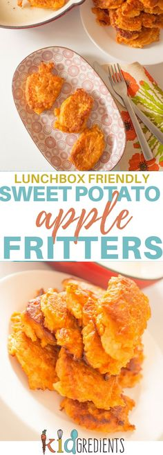 These delicious sweet potato and apple fritters are perfect for a dinner side or even in the lunchbox. Freezer friendly, kid friendly and super yummy. #kidsfood #familyfoods #lunchbox #healthykidsfood #BLW #babyledweaning via @kidgredients