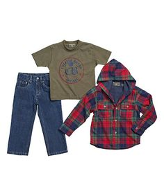 Love this Red & Green Plaid Jacket Set - Infant by College Boyys on #zulily! #zulilyfinds