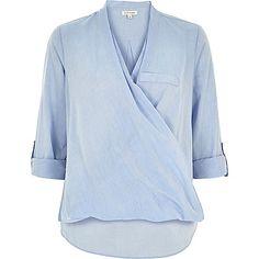 Blue loose chambray wrap shirt