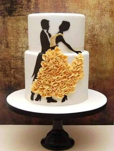 Wedding Cake white with silhouette of couple