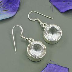 Mystic Cut Crystal Earrings - Sterling Silver Dangle Earrings - Clear Earrings - Bezel Set Round Cut Earrings - Dangle Earrings on Etsy, $24.20