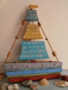 Boat Crafts, Summer Crafts, Diy And Crafts, Crafts For Kids, Sailboat Craft, Driftwood Crafts, Creative Workshop, Pallet Art, Shell Crafts