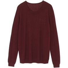 hush Katie Crew Neck Jumper , Burgundy ($79) ❤ liked on Polyvore featuring tops, sweaters, burgundy, patterned sweaters, burgundy crew neck sweater, collared sweater, burgundy sweater and red long sleeve top