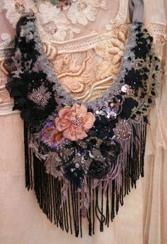 Reserved for Joanne---Venezia -  bold statement necklace, from antique lace, vintage finds, silk, hand embroidery