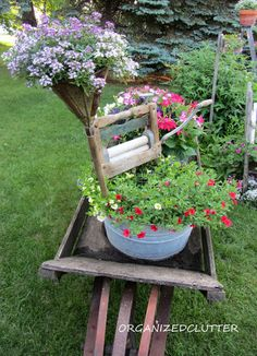 Organized Clutter: Revisiting Vignettes: Pressing Garden Matters, Another Kitchen Fairy Garden, & Laundry Themed Wheelbarrow