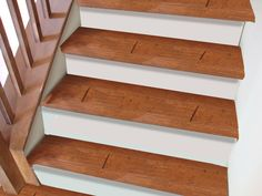 Pure Red Stair Treads Machine Made Polypropylene with Rubber Backing Wooden Staircases, Wooden Stairs, Flooring For Stairs, Wood Flooring, Floors, Stairs Skirting, Painted Stairs, Painting Trim, Stair Treads