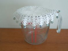 Crochet milk jug cover glass cover pims jug by CraftyCornishMaids