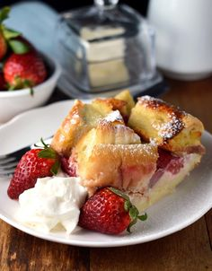 Tropical Strawberry and Cream French Toast Bake