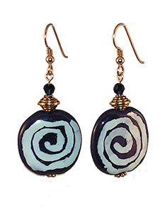 Navy Blue Earrings - Kazuri Ceramic by Randall V Designs