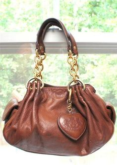 Juicy Couture Distressed Brown Leather Hobo Chain Purse Tote Satchel Ebay
