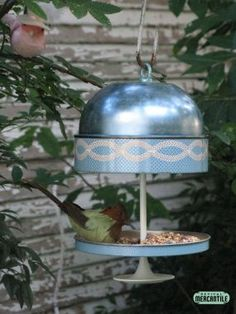 Upcycled Vintage Cookie/Candy Tin Bird Feeders - JUNKMARKET Style