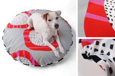 60ies style dog bed with b&w piping | paraperro.de