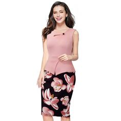 2016 Summer Elegant Women Business Dress Pink Celebrity Print Floral Tunic Bodycon Sheath Pencil Party Casual Dresses B288