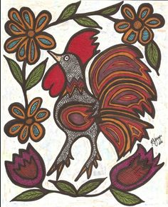 """Crazy Mexican Rooster"", 8X10 ink on hard board.  A gift for my aunt"