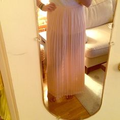 Urban Outfitters maxi skirt Pleated maxi skirt - polyester. Color is baby pink. Never been worn. It should be noted the skirt is pretty see-through so you need a slip or you could just rock it if you're feeling frisky Sparkle & Fade Skirts Maxi