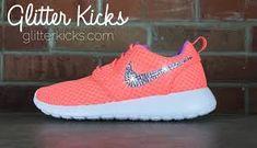 Women s Nike Roshe One Breeze Casual Shoes By Glitter Kicks - Customized  With Swarovski Elements Crystal Rhinestones - Orange Violet on Wanelo 97e6579b7abf