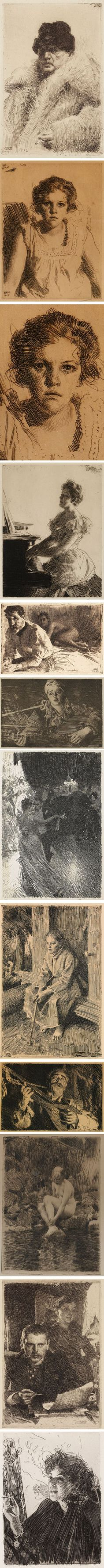 Etchings by Anders Zorn (1860-1920, Swedish painter)