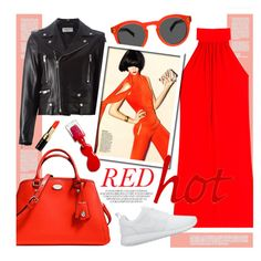 So RED... by clovers-mind on Polyvore featuring ファッション, Michael Kors, Yves Saint Laurent, NIKE, Coach, Bobbi Brown Cosmetics, L'Oréal Paris, DayToNight, reddress and valentinesday