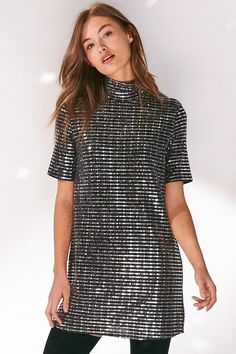 Oh My Love Sparkle Stripe Mock Neck T-Shirt Dress | #Chic Only #Glamour Always