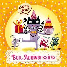 Carte Anniversaire C'est la fête + enveloppe - Editions de mai 14 x 14 cm - Bureau/Carterie - espritlogis-fr