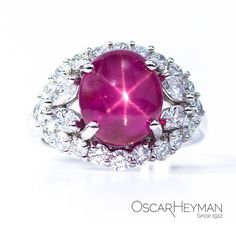 Asterism, from Ancient Greek, is the phenomenon of gemstones exhibitingrays like this Oscar Heyman star ruby. The best have 6 straight rays which cross at a point. #OscarHeyman #starruby #asterism #gemstones #jewelry #diamonds #ruby #ring #platinum #lovely