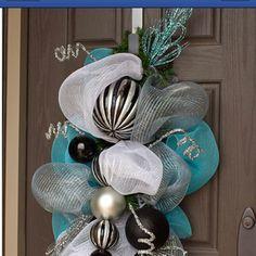 aqua, black, and silver wreath