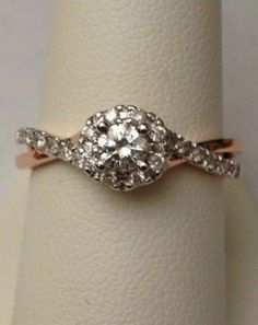 Two Tone Halo Vintage Style bypass Shank Engagement Ring (0.50ct. tw)-RG221401661451