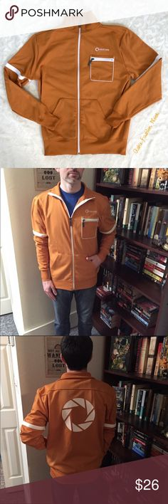 💠New💠 Jinx-Portal/Aperture Labs Orange Jacket 🌸Brand: Jinx🌸 Color(s): Orange and white Size: Small Stretch: yes Fabric Content: 100% polyester  Condition: like new Note: No flaws! Like new condition! Perfect for the avid gamer!   Measurements: Pit to pit: ~21.5 inches  Length: ~27.5 inches Shoulders: ~19 inches Sleeves: ~26.5 inches 📦Bundle all the items you like, and I will send you a personalized, no obligation, offer!📦 Jinx Jackets & Coats Lightweight & Shirt Jackets