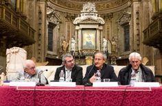 Da sinistra: Fausto Bertinotti, Mauro Ballerini,<br> Julián Carrón ed Eugenio Borgna.