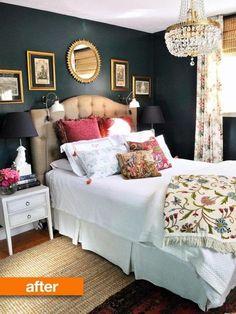 Comfy Eclectic Master Bedroom Decor Ideas and Remodel - Landhausstil Dekor Home Bedroom, Bedroom Decor, Master Bedrooms, Light Bedroom, Glam Bedroom, Bedroom Ideas, Bedroom Inspiration, Headboard Ideas, Emerald Bedroom