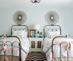 A room for two tween girls; design by Fieldstone Hill Design