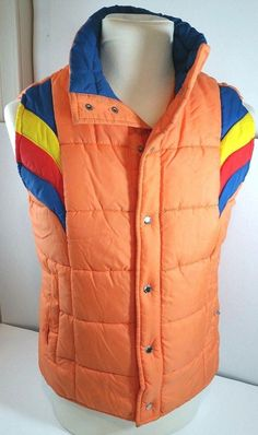82977b0249f7 misc. puffer jackets · 70s 80s ASPEN Orange Chevron Puffy Ski Vest Size  Youth Large or Adult Small XS