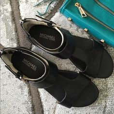 SALE TODAY!MICHAEL KORS Leather Sandals Worn once! Excellent condition, black leather sandals hot for summer!! Back zipper, super comfortableFAST SHIPPING(Note: dot in second pic is from the mirror, is not on shoe) Michael Kors Shoes Sandals