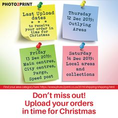 Take note of the final upload dates to get your order in time for Christmas. #deadline #uploads #intimeforchristmas #christmas #xmas #christmastime #gifts