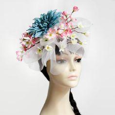 Cherry Blossom Flower Headband Fascinator, Church Hat, Kentucky Derby Hat, Tea Party Hat, Bridal Hat, Mother's Day Hat, Formal Hat