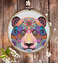 This is modern cross-stitch pattern of Mandala Bear for instant download. You will get 7-pages PDF file, which includes: - main picture for your reference; - colorful scheme for cross-stitch; - list of DMC thread colors (instruction and key section); - list of calculated thread