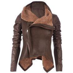 Helmut Lang Weathered Shearling Jacket ❤ liked on Polyvore featuring outerwear, jackets, helmut lang, helmut lang jacket, shearling jacket, brown jacket and brown shearling jacket