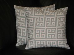 """spa BLUE & Natural Greek Key Accent Pillows 26"""" EURO Shams Decorative Pillow Covers 26x26 set of TWO. $55.00, via Etsy."""